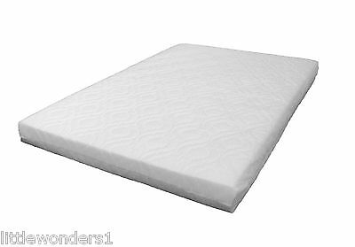 LAURA 95x65cm Travel Cot Mattress 7cm Thick WITH QUILTED COVER (Sheet Available)