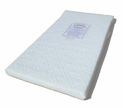 LAURA 119x59cm Travel Cot Mattress 5cm Thick WITH QUILTED COVER -Sheet Available