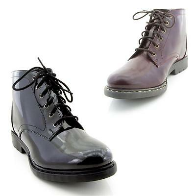 Mens Boys Leather Winter Thermal Lining Ankle Lace up Boots Pat Shoes