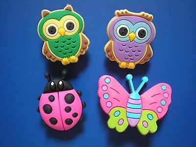 Garden Clog Hole Shoe Plug Charm Button Fit WristBands Butterflies Beetles Owls