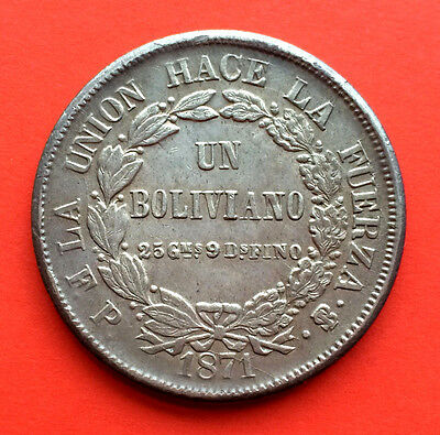 Silver coin 1 Boliviano.Republic of Bolivia. Year 1871. Excellent quality AU/UNC