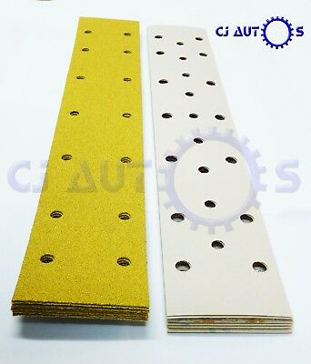Hook & Loop Sanding Strips 70Mmx420Mm X 23Hole Abrasive Paper Long Bed Mix Grits