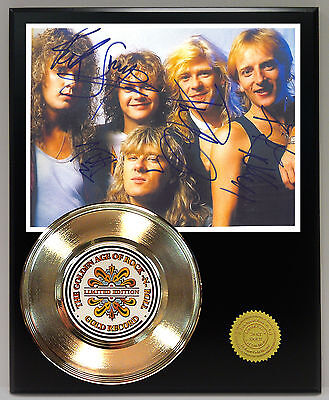 Def Leppard - 24k Gold Record & Autograph Reprint Photo Display - USA Ships Free