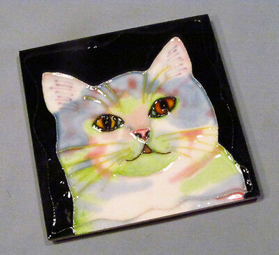 "White Psychedelic Colors Cat Textured Glazed 4"" Ceramic Tile Wall Art"