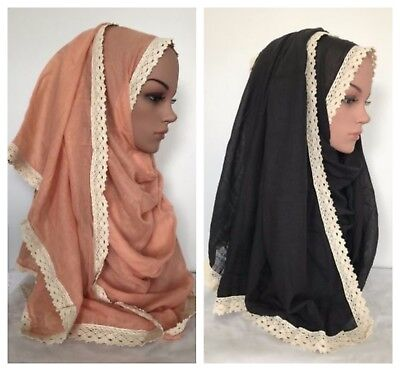 190 X 90 cm HIGH QUALITY Cotton Blend Scarf/Hijab with Cotton Lace Border