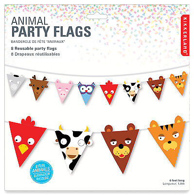 ANIMAL FACE PARTY FLAGS - Kids Nursery Bedroom Decoration Bunting 1.8mtrs **NEW*