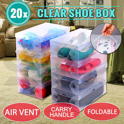 20X Transparent Clear Plastic Shoe Storage Box Foldable Boxes Lot Bulk