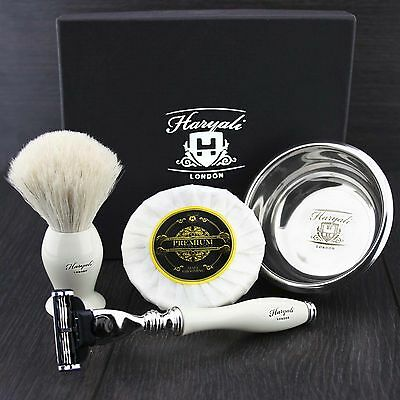 Gillette Mach 3 Razor With Badger Shaving Brush Shave Soap And Bowl Gift Set