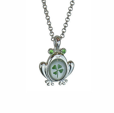 Celtic Lucky Real Four Leaf Clover Frog Pendant with Certificate & Gift Box