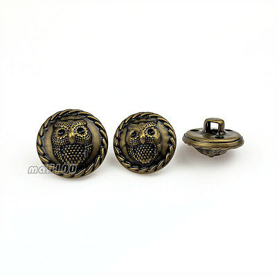 12PCS Antique Bronze Metal Owl Relief Round Shank Button Sewing Embellishments