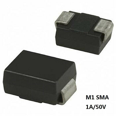 100PCS 1N4001 IN4001 M1 SMA DO-214AC SMD Rectifier Diode 1A/50V