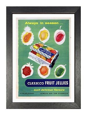 Clarinco Fruit Jellies Poster Vintage Retro Photo Sweets Old Advert Picture