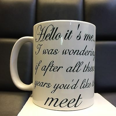 """adele Hello Its Me Lyrics"" Printed Mug Mugs-Christmas Xmas Gift Secret Santa"