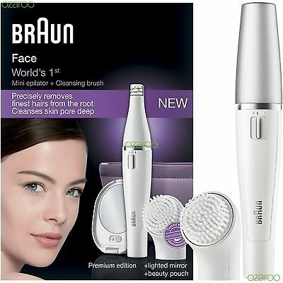 Braun Face SE830 Facial Epilator Cleansing Brush Including Mirror & Beauty Pouch