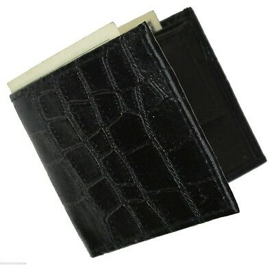 Genuine Leather Croco Embossed Kids Small Bifold Money Wallet By Marshal