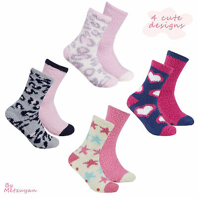 FOREVER DREAMING 2 Pairs Ladies Cosy Socks Non Slip Grippers Fluffy Winter Gift