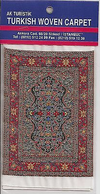 Imported Turkish Woven Miniature Carpet - Beige Gold Black