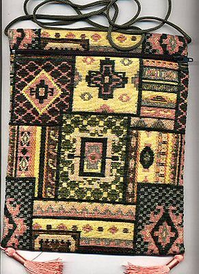Imported Turkish Tapestry Shoulder Bag - Purse - Yellow, Dk Green & Peach