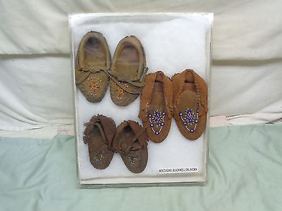 (3)American Indian Childs Beaded Leather Moccasins: Blackwell, Oklahoma