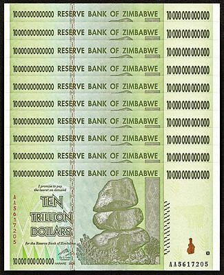 ZIMBABWE 10 Trillion Dollars X 10 PCS AA 2008 P-88 1/10 Bundle UNC Uncirculated