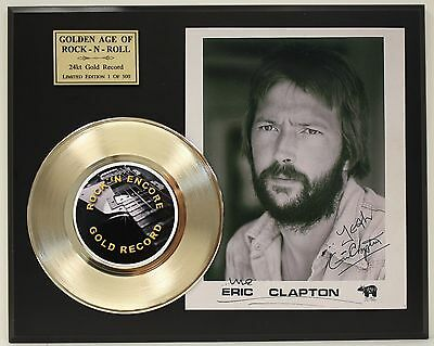 Eric Clapton  24k Gold Record & Autograph Reprint Photo Display - USA Ships Free