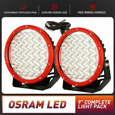 Pair 9inch 99999W CREE SPOT LED Driving Light Round Work Lamp Offroad 4WD Black