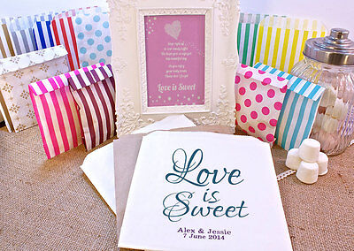 Personalised Wedding Sweet Bags LOVE IS SWEET Candy Cart Wedding Favours Confett