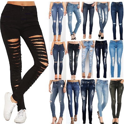 New Womens Ripped Jeans Knee Cut Jeggings Skinny Fit Stretchy Ladies Denim 6-16