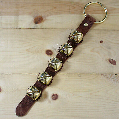 Arctic Sleigh Bell Antique brown Leather Strap Hanging Door Chimes_AB/GD