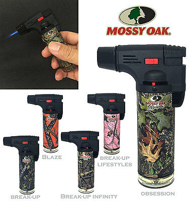 4 Pack Mossy Oak Torch Gun Lighter Adjustable Flame Windproof Butane Refillable