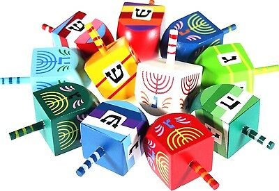 Dreidel Wood Kids Judaica Jewish Hanukkah Children Israel Color 1Pcs Hand Made