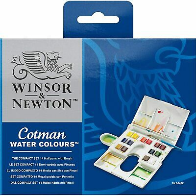 Winsor and Newton Cotman Watercolour Compact Set Palette Box 14 Half Pans