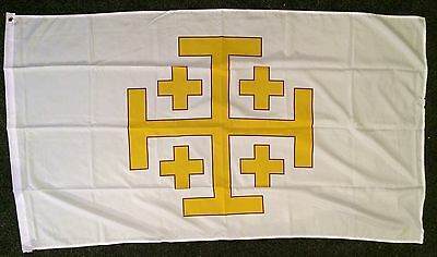 Jerusalem Cross Flag 5x3 Templar Crusader Medieval Holy Order Crusade Catholic