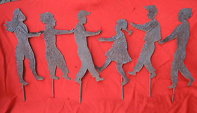 "Vintage Lot of 6 Rusty Metal Yard Art People 1/4"" Candle Holder 12"" w/5"" Stake"