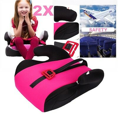 2x Car Booster Seat Pink Sturdy Baby Child Kid Children Fit 3 To 12 Years Safety