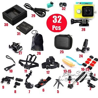 32 All-in-1 Professional Kit Accessories Bundle Waterproof Battery for Xiaomi Yi