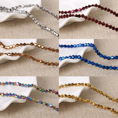 Metallic Faceted Bicone Crystal Glass Beads 4mm-200 6mm-100 8mm-60 CHOOSE COLOUR