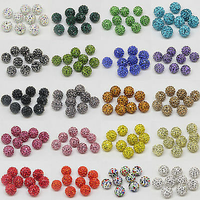 WHOLESALE 10mm Crystal Rhinestone Pave Clay Disco Ball Spacer Bracelet Beads DIY