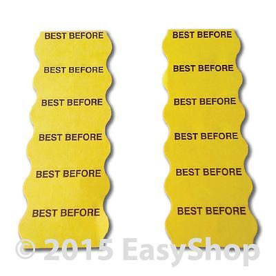 Best Before 26mm X 12mm Price Marking Gun Labels CT4 Motex Yellow Perm Adhesive
