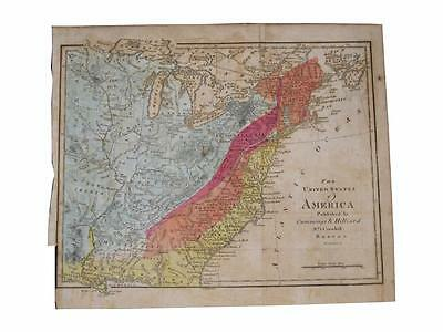 1816 Map of the United States Cummings Hilliard Hand Colored