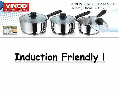 3 Pc Deluxe Induction Stainless Steel Saucepan Set With Glass Lid Cooking Pan
