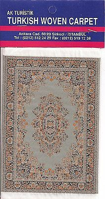 Imported Turkish Woven Miniature Carpet - Teal & Gold