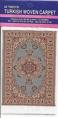 Imported Turkish Woven Miniature Carpet - Blue Tan Rust