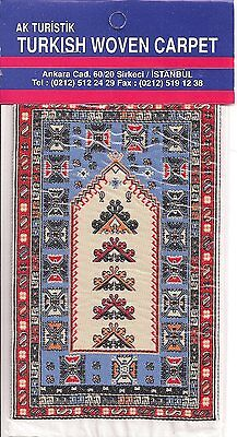 Imported Turkish Woven Miniature Carpet - Tan Blue Red