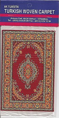 Imported Turkish Woven Miniature Carpet - Red Orange Gold