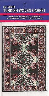 Imported Turkish Woven Miniature Carpet - Black Red Ivory