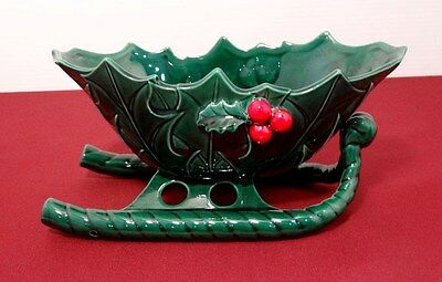 Leftons Christmas Green HOLLY Berry Sleigh Planter Candy Bowl Dish -For Reindeer