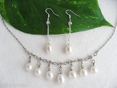 Sterling Silver Real Cultured Freshwater Tear Drop Pearl Necklace Earrings Sets