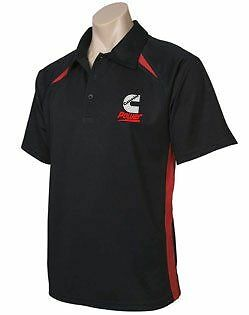 Cummins Mens Black Polo with Red Trim; Polo Shirt; shirt; Truck;