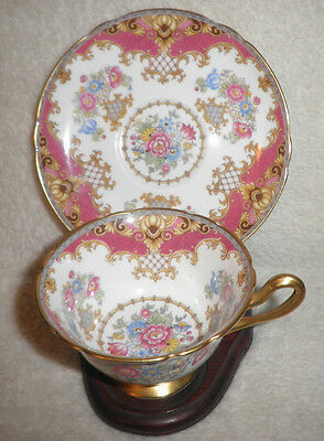 Shelley Tea Cup And Saucer Red & Floral Sheraton  Pattern Teacup